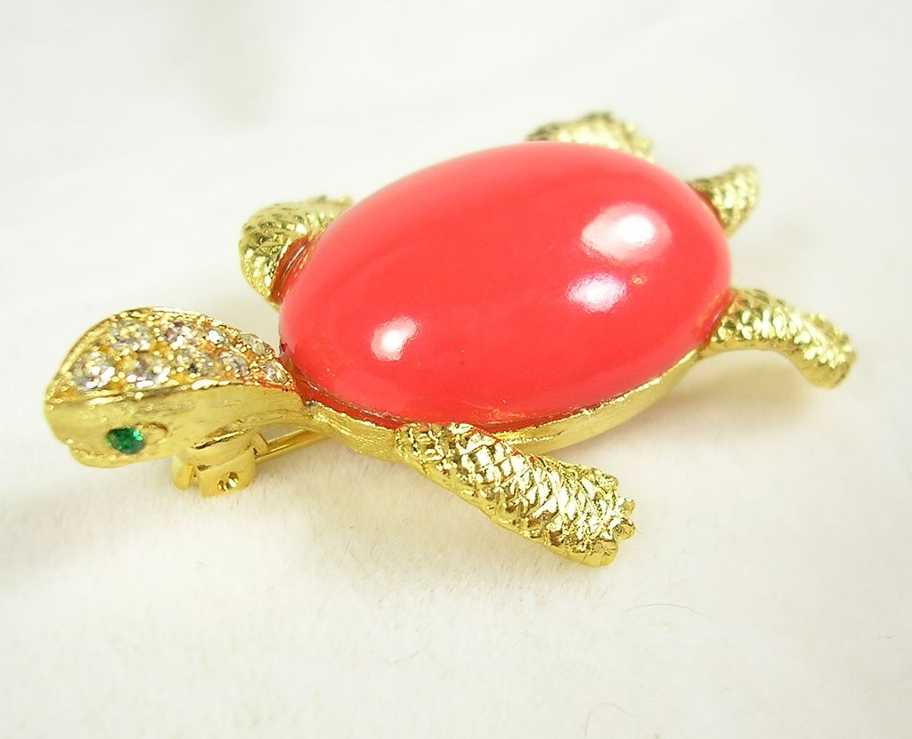 Vintage Lucite Jelly Belly Coral Orange Turtle Pin Brooch