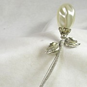 Signed Lisa Silver Tone Long Stem Rose Brooch Pin with Simulated Pearl
