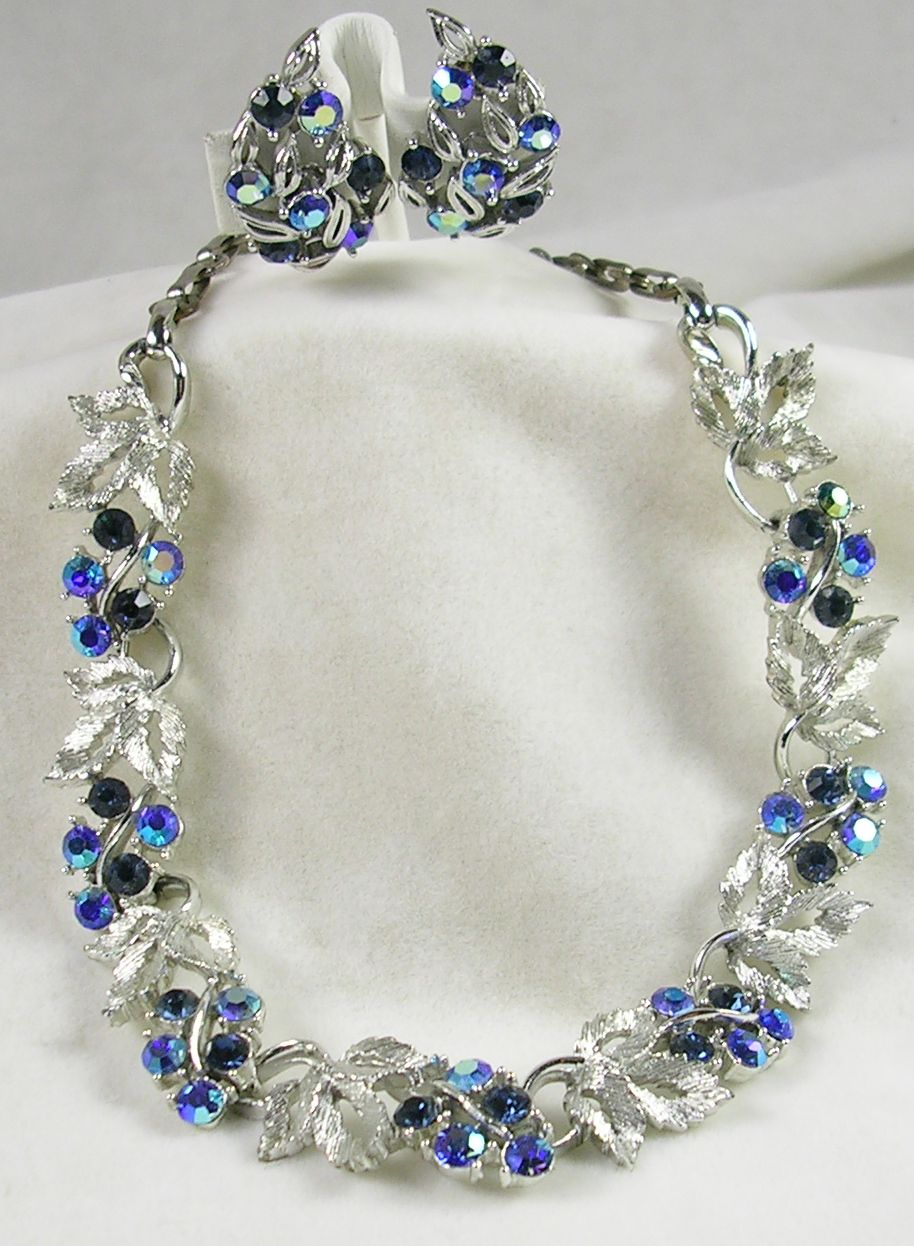 Signed Lisner Sapphire and Aurora Borealis Rhinestones Floral and Leave Necklace and Earrings in Silver Tone