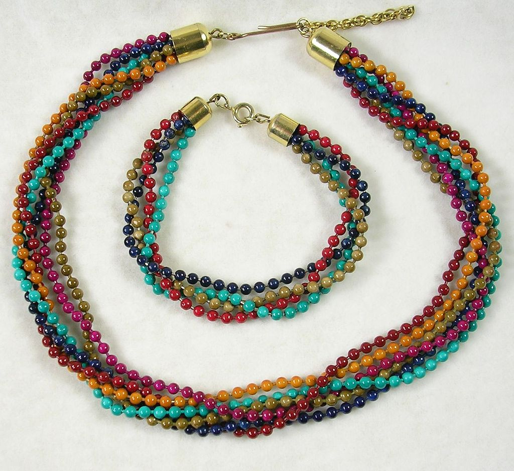 Six Strand Multi Colored Acrylic Beaded Necklace with Bracelet