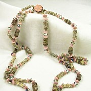 Signed Japan Vintage Double Strand Necklace Agate and Crystal