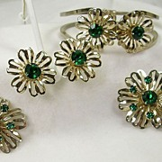 Vintage Bracelet, Earrings, and Two Brooches in a Flower Motif and Emerald Green Rhinestones in Gold  Tone