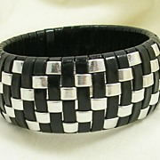 Black & Silver Woven Leather Bangle Bracelet