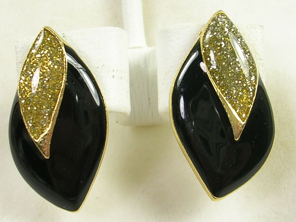 Vintage Black Enamel Pierced Earrings with Gold Glitter Epoxy – Stunning!