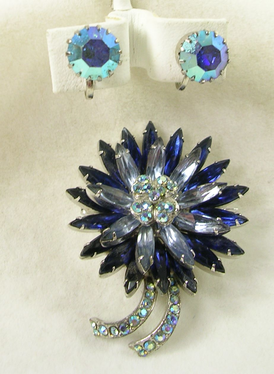 Vintage Aurora Borealis and Simulated Sapphire Floral Brooch Pin with Solitaire Aurora Borealis Earrings