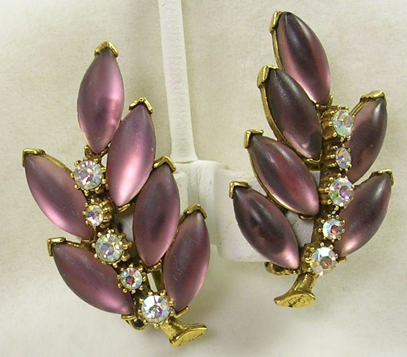 Vintage Frosted Amethyst Crystal and Aurora Borealis Clip Earrings – Gorgeous!