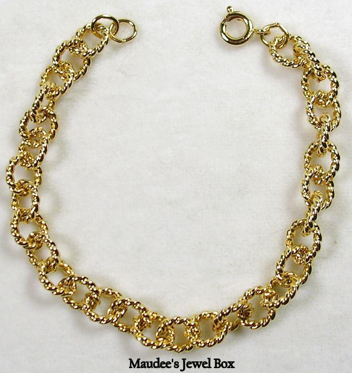 TACOA Vintage Charm Link Gold Tone Bracelet