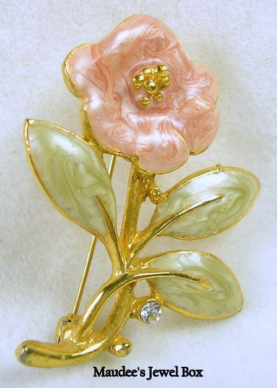Vintage Enamel and Rhinestone Floral Pin Brooch in Gold Tone
