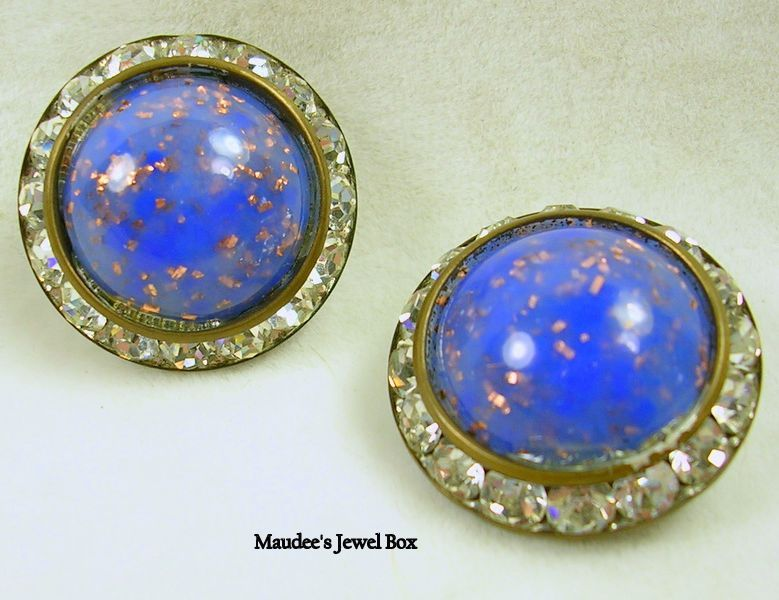 Vintage Simulated Lapis and Crystal Rhinestone Button Clip Earrings