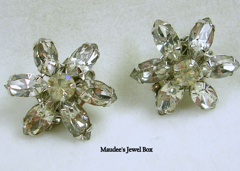 Vintage Marquise and Round Crystal Rhinestone Clip Earrings