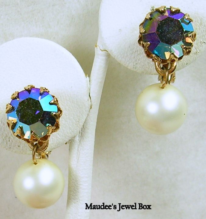 Vintage Rhinestone Crystal and Simulated Pearl Dangle Clip Earrings in Gold Tone