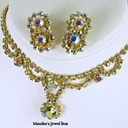 Vintage Pastel Aurora Borealis and Clear Rhinestone Demi Parure in Gold Tone – Beautiful!