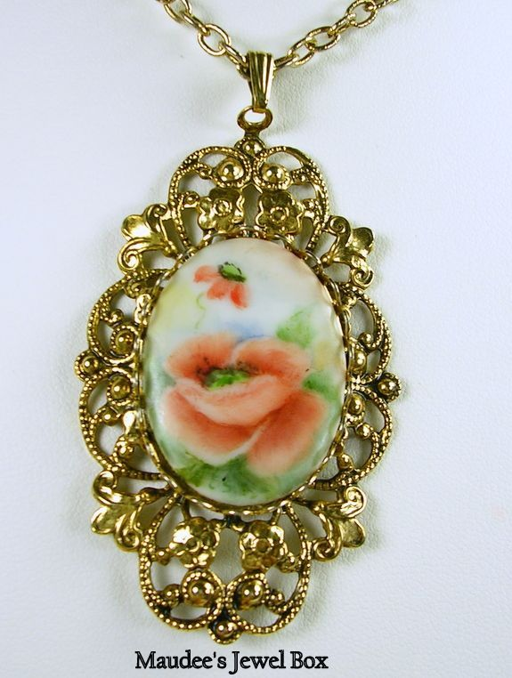 Vintage Filigree Porcelain Floral Gold Tone Pendant with Chain