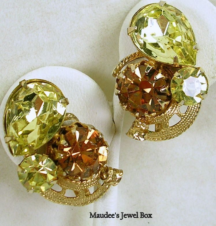 Vintage Simulated Citrine and Topaz Rhinestones Clip Earrings