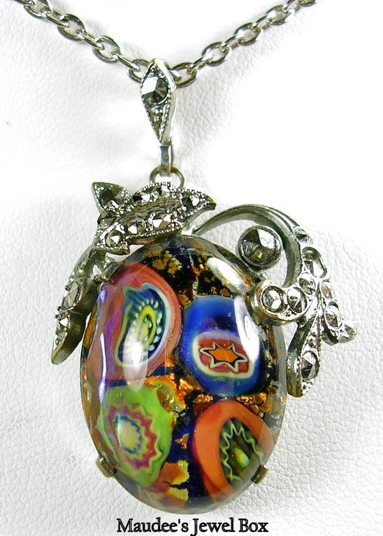 Vintage Silver Tone, Marcasite and Art Glass Mille Fiore Pendant Necklace