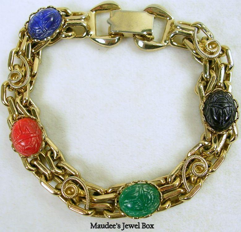 Vintage Gold Tone Carved Simulated Gemstone Scarab Link Bracelet