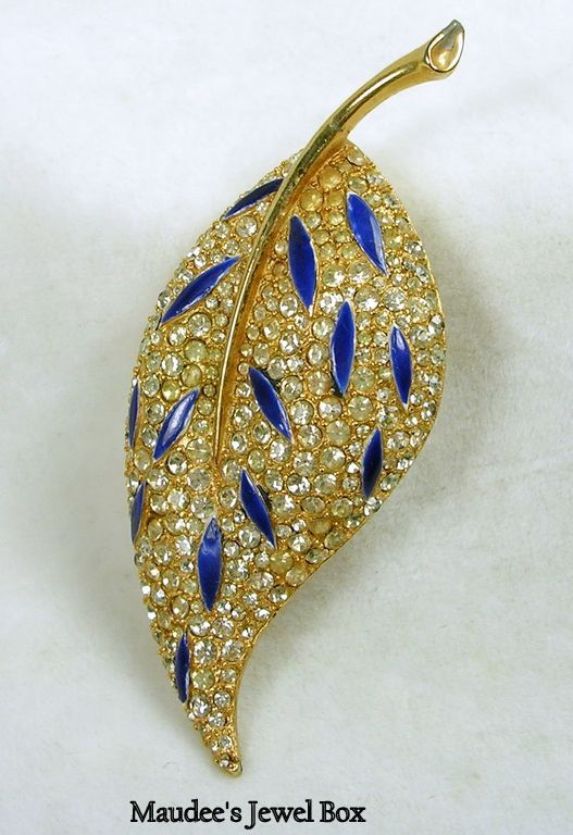 Signed Marvella Gold Tone Leaf Brooch with Rhinestone Crystals and Lapis Blue Enamel