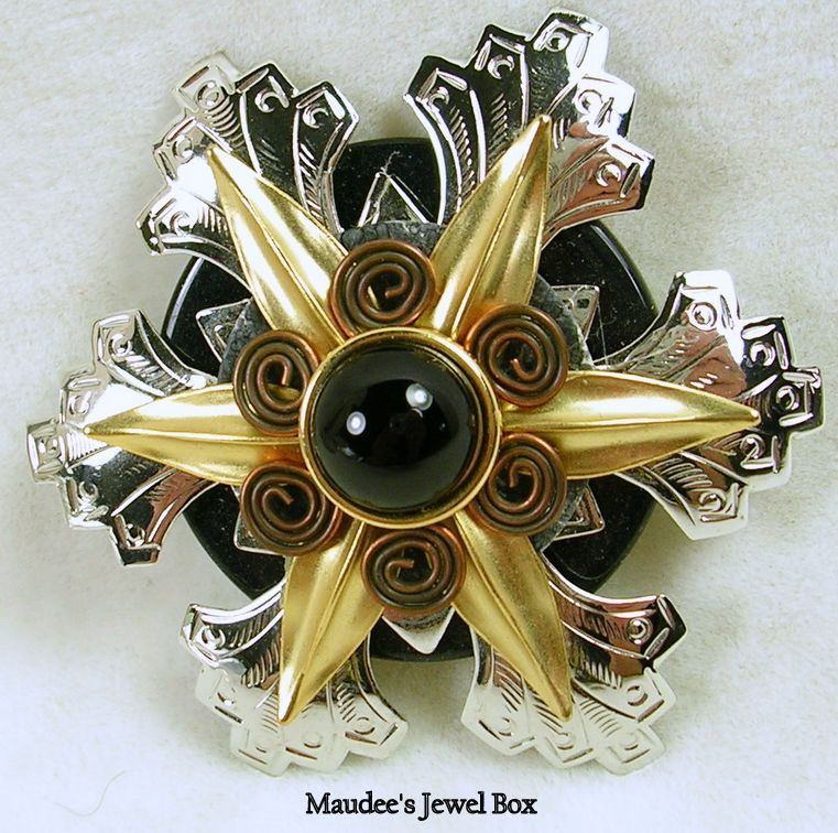 Vintage Silver, Gold, and Copper Tones Snowflake Brooch Pin