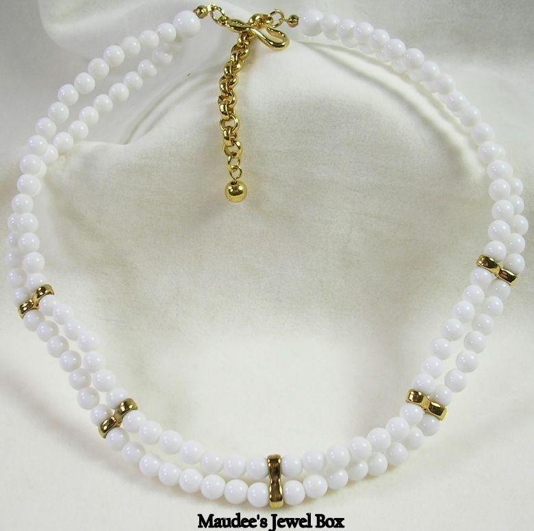 Napier White Double Strand Beaded Necklace