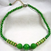Vintage Wooden Spring Green Beaded Necklace