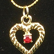 Ruby Rhinestone Heart Pendant Necklace