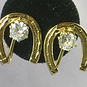 Lucky Horseshoe Earrings w RS 14KT HGE