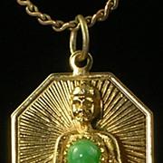 Buddha Pendant with Jade Cabochon Stone Goldtone