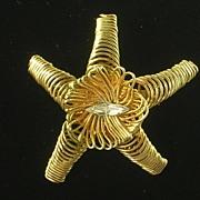 Springy Starfish Pin/Brooch Goldtone w/ Marquise Rhinestone