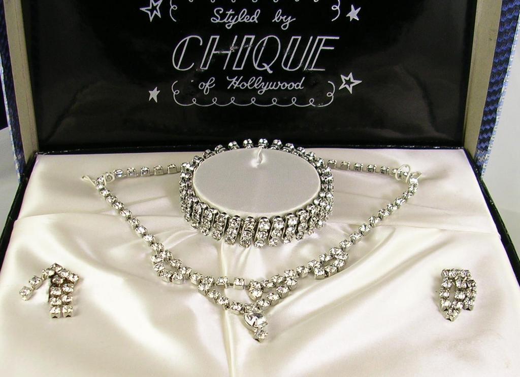 Chique of Hollywood Vintage Clear Rhinestone Earrings, Necklace, and Bracelet in Silver Tone