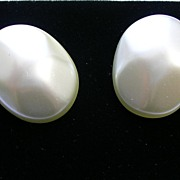 Vintage Faux Pearl Earrings in Silver Tone – c 1960s