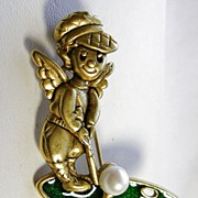 Signed Danecraft Vintage Golf Angel with Green Enamel Faux Pearl in Gold Tone