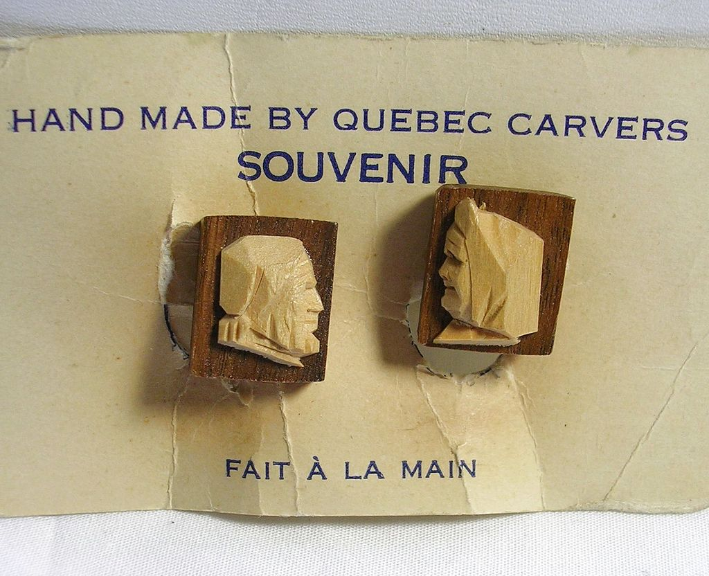 Vintage Handmade Carved Wood Earrings from Quebec – Fait A La Main