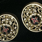 Les Bernard Oval Antique Crest Gold Tone Clip Earrings with Faux Pearls Ruby Red Rhinestones