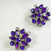 Vintage Pair Brooches with Marquise and Round Amethyst Rhinestones in Silver Tone