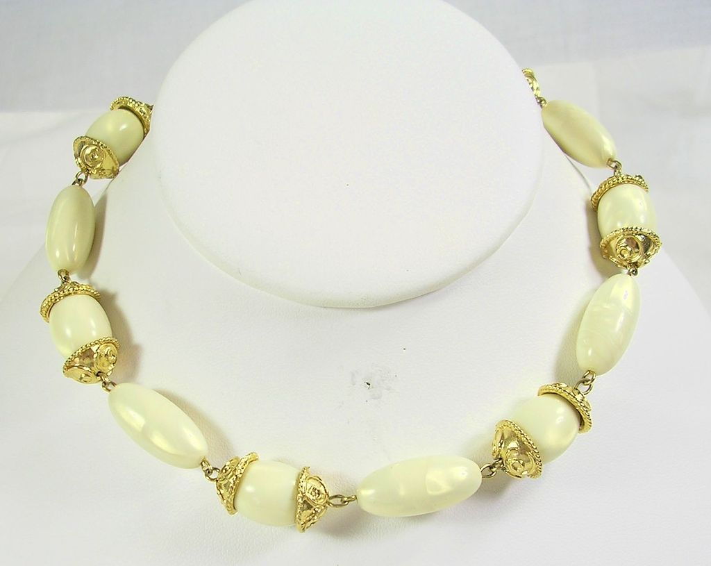 Trifari Lucite Necklace in Ivory and Gold  Tone