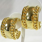 Vintage Large Beaded Hoop Earrings in Gold  Tone – c. 1970