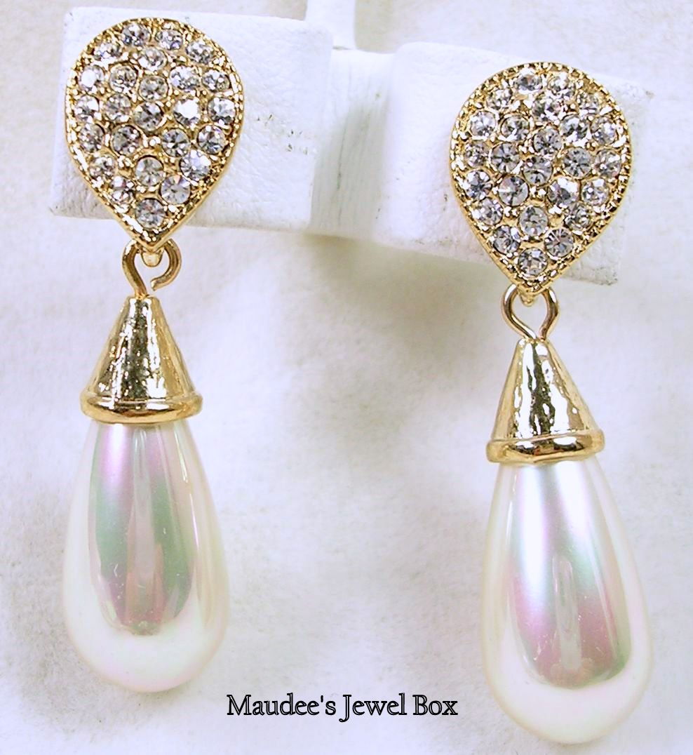 Signed Roman Dangle Pierced Earrings with Rhinestones and Teardrop Simulated Pearls – Beautiful!