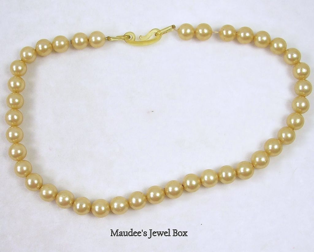 Vintage Single Strand of Golden Simulated  Pearls