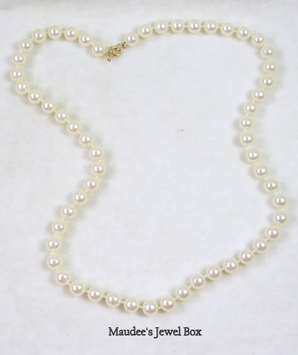 "Vintage 20"" Strand of Knotted Glass Simulated White Pearls"