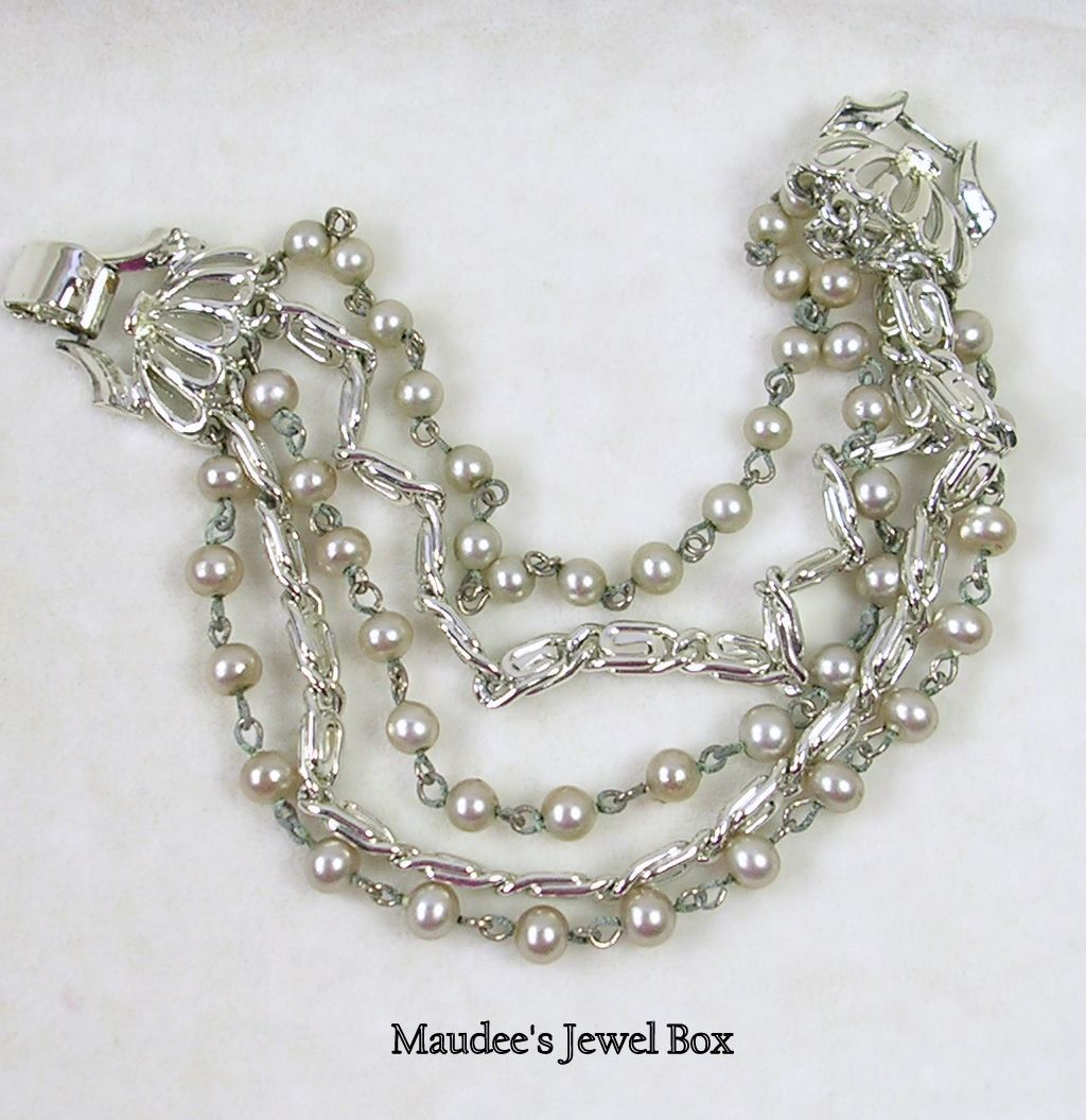 Signed Lisner Multi Chain and Simulated Gray Pearls with Butterfly Clasp