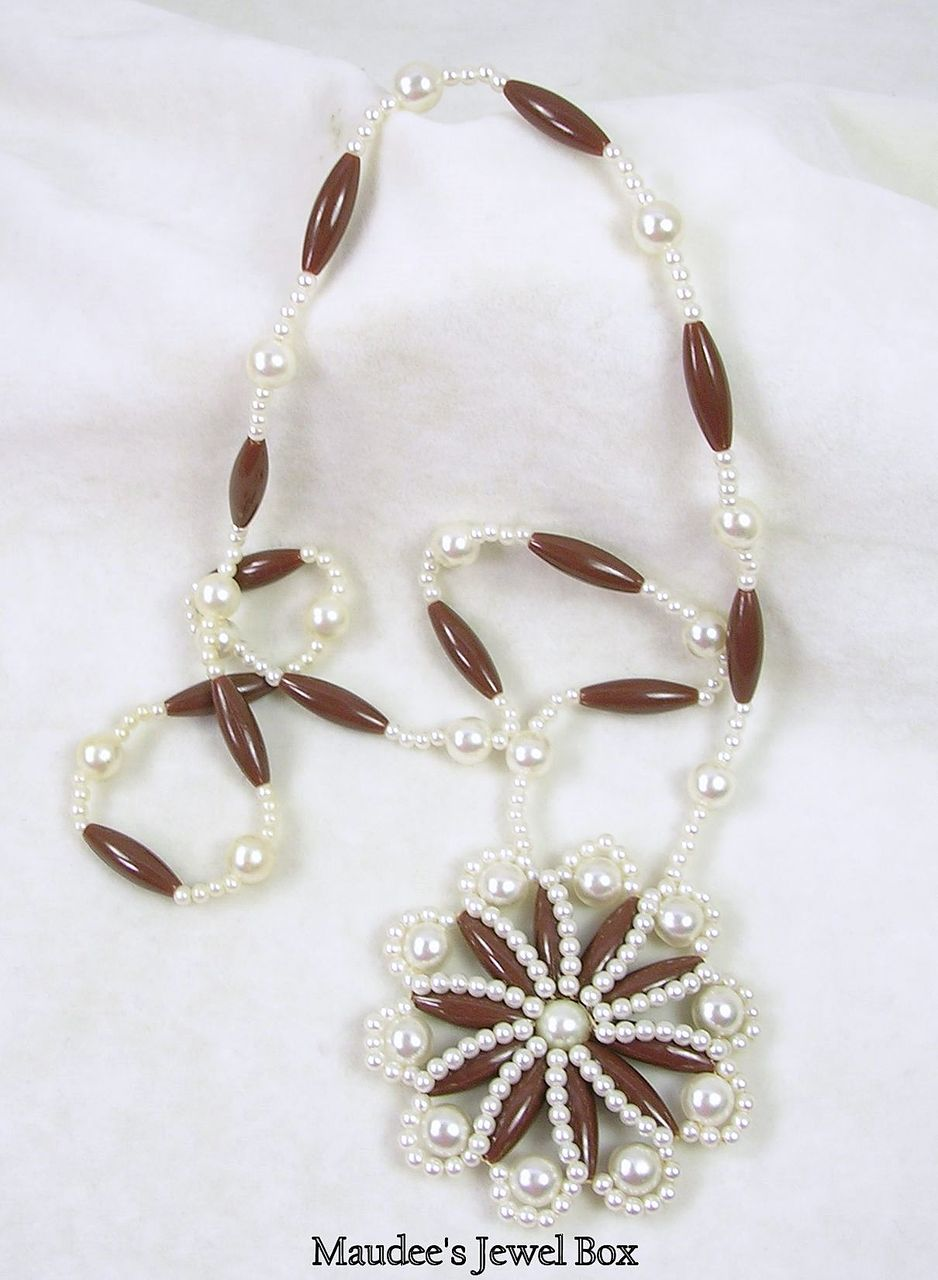 Vintage Simulated Pearl Medallion Necklace