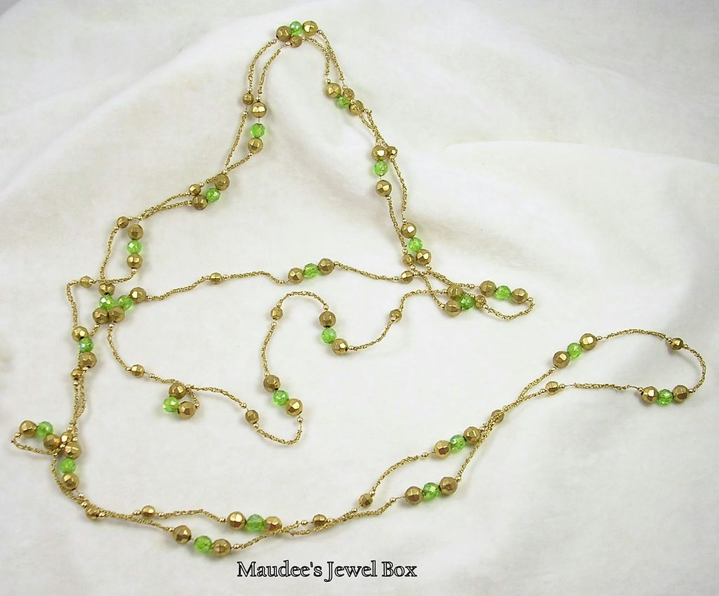 Vintage Necklace by the Yards with Green and Gold Beads in Gold Tone