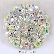 Vintage Aurora Borealis Rhinestone Cluster Brooch Pin – Exquisite!
