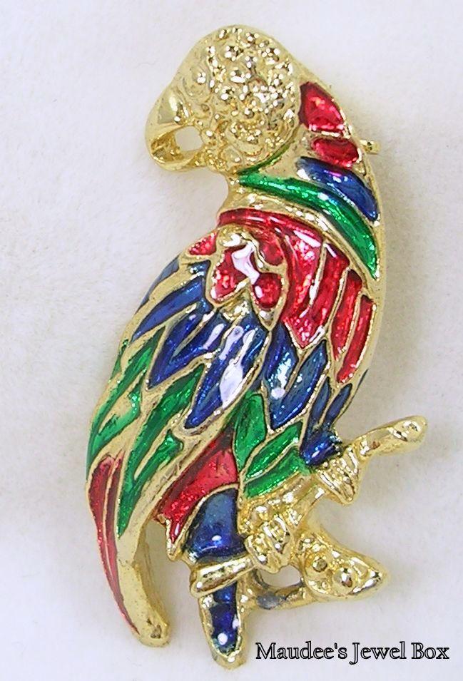 Enamel Parrot Brooch Pin