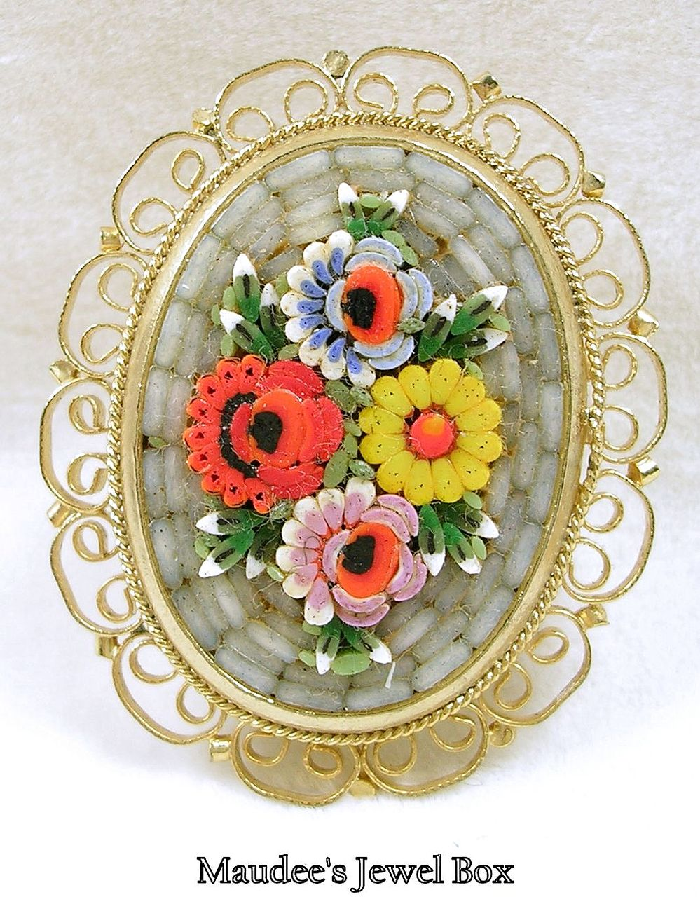 Vintage 3-D Mosaic Brooch Pin with a Filigree Frame