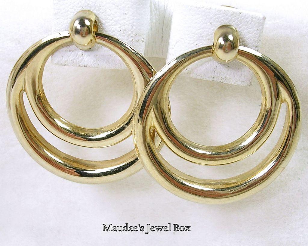 Vintage Door Knocker Hoop Pierced Earrings in Goldtone