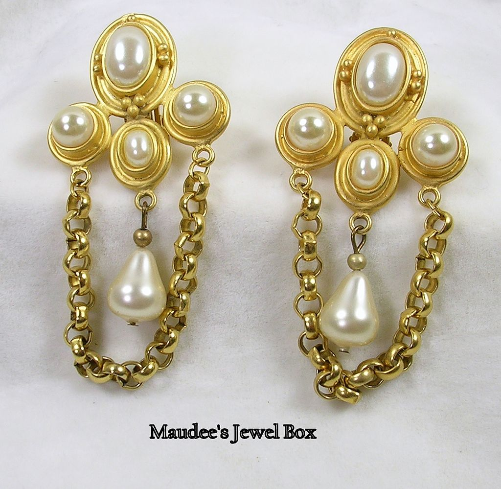 Large Dangle Earrings with Faux Pearls in Goldtone