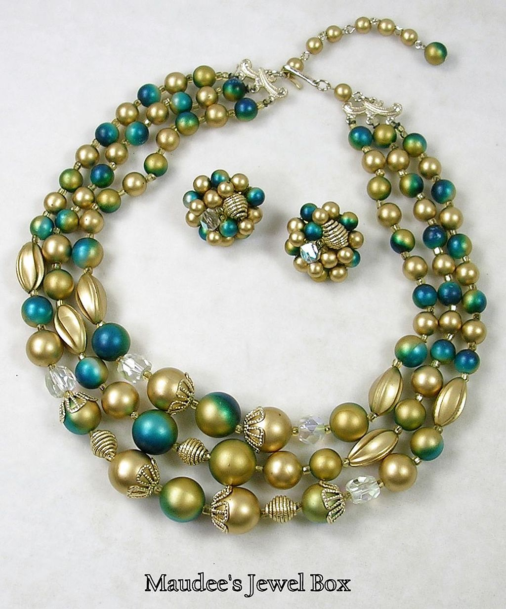 Signed Japan Vintage Gold, Deep Aqua and Aurora Borealis Three Strand Beaded Necklace with Clip Earrings