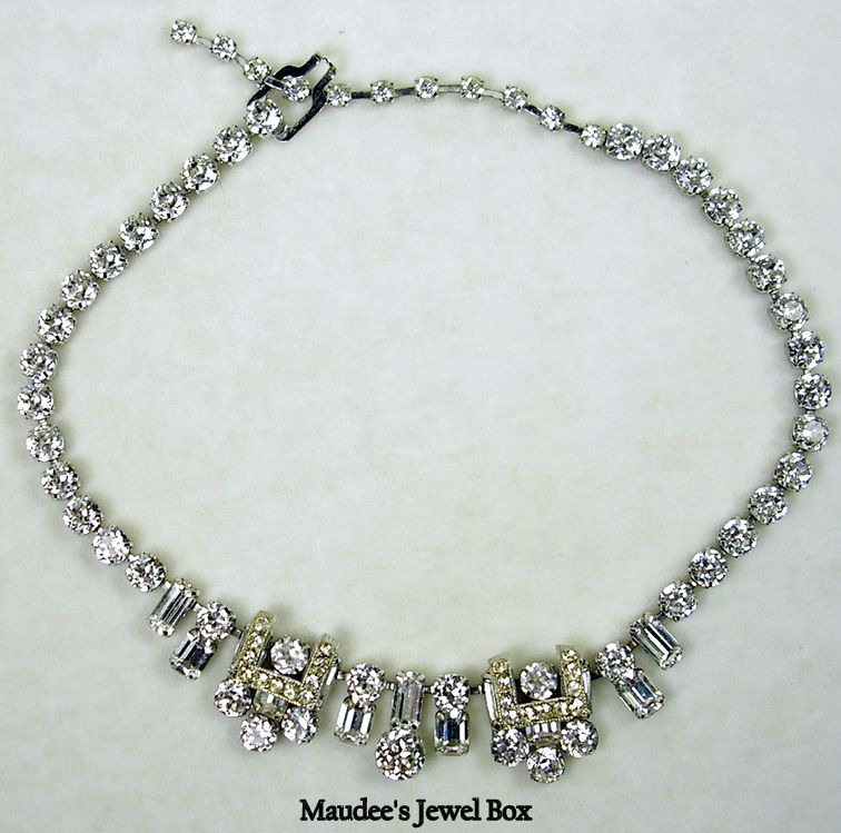 Signed Eisenberg Vintage Crystal Rhinestone Necklace