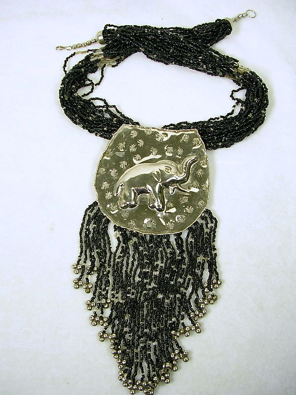 Vintage Beaded Bib Necklace with Silver Elephant Medallion